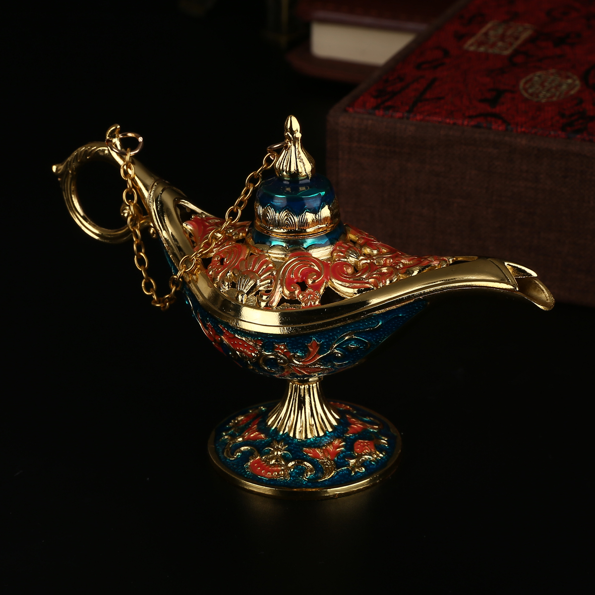 Traditional Aladdin Lamp Magic Lamp Retro Censer Panto Tea Pot Genie Oil Lamp Zinc Alloy For Home Decor Ornaments in Figurines Miniatures from Home Garden