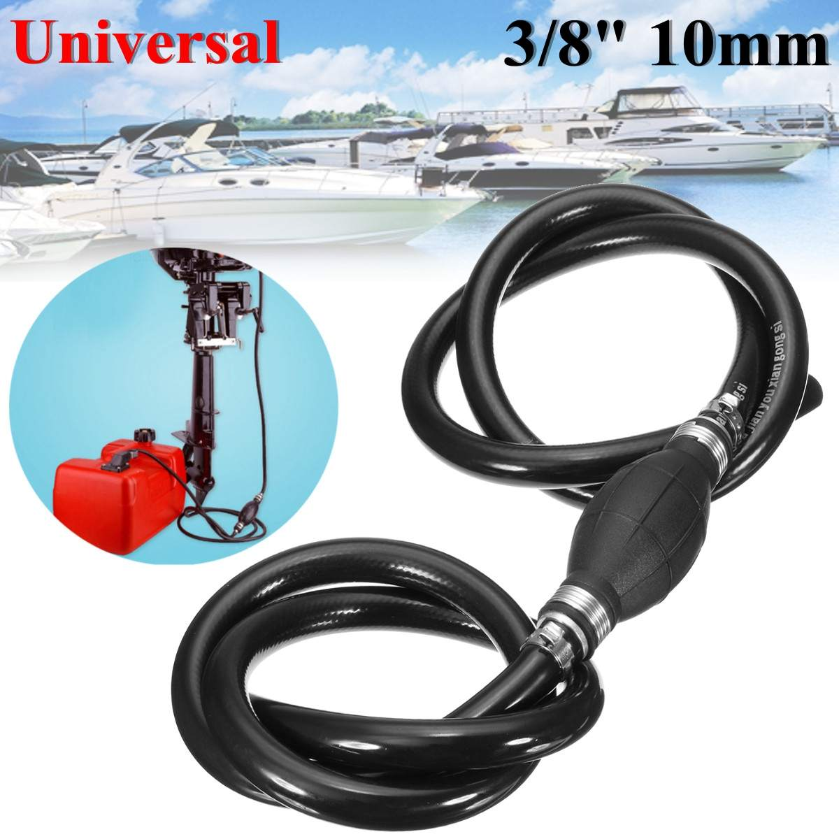 US $9 86 8% OFF 3/8inch Universal 10mm Fuel Line Hose Assembly w/ Primer  Bulb Marine Outboard Boat Motor-in Oil Suction Pump from Automobiles &