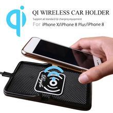 Qi Sem Fio do Carregador Do Telefone Do Carro Titular Carregador Rápido Carregamento Rápido de Montagem Não Slip Pad Mat Para IPhone XS MAX XR Huawei Xiaomi