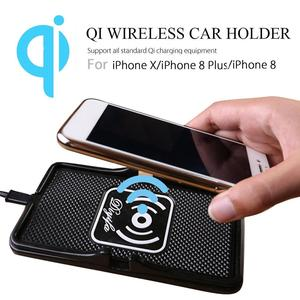 Image 1 - Qi Беспроводное зарядное устройство для автомобильного телефона, держатель для быстрой зарядки, нескользящий коврик для IPhone XS MAX XR Huawei Xiaomi