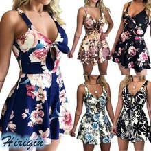 Summer Playsuits 2019 New Women Sleeveless V-Neck High Waist Playsuit Casual Print Loose