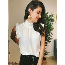 2019 Fashion Office Ladies Blouse OL Clothes Women Summer Ruffles Tops Sleeveless Button Shirt Turtleneck Blouses