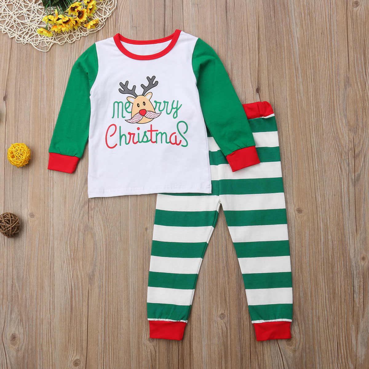 חדש אופנה חג המולד משפחת התאמת פיג פיג 'מה נשים גברים ילדים צבי מכתב הדפסת פסים הלבשת Nightwear