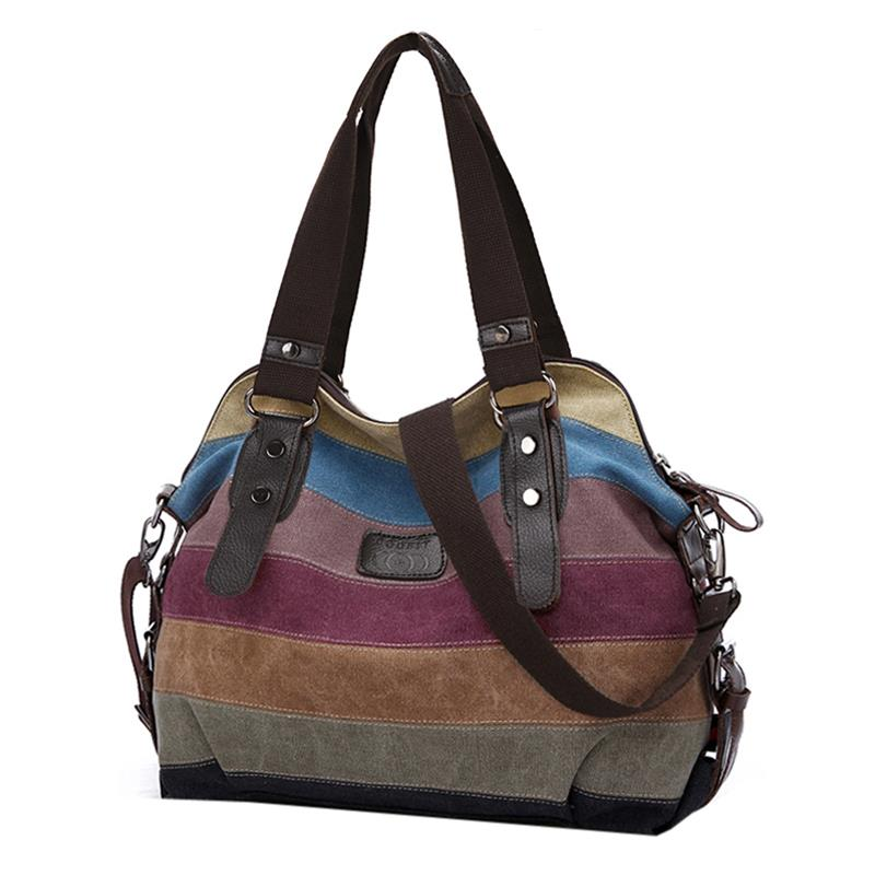 Stripe Canvas Shoulder Handbags For Women Multicolor Striped Crossbody Bags Leisure Lady Messenger Bag Shopping Handbag
