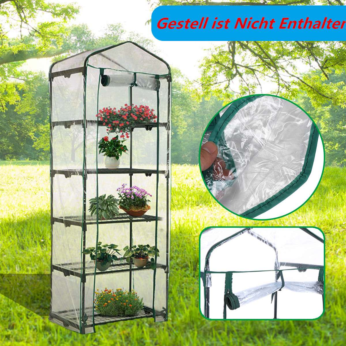 Garden Buildings Garden Greenhouses 2019 Fashion Apex-roof 5-tier Garden Greenhouse Hot Plant House Shelf Shed Clear Pvc Cover Keep Warm Good Breathability 69x49x187cm Removable