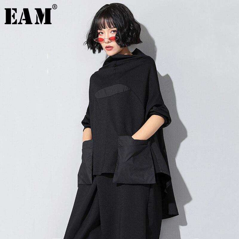 [EAM]2019 New Autumn Winter High Collar Long Sleeve Black Loose Pocket Stitch Irregular Hem Big Size T-shirt Women Fashion JQ018