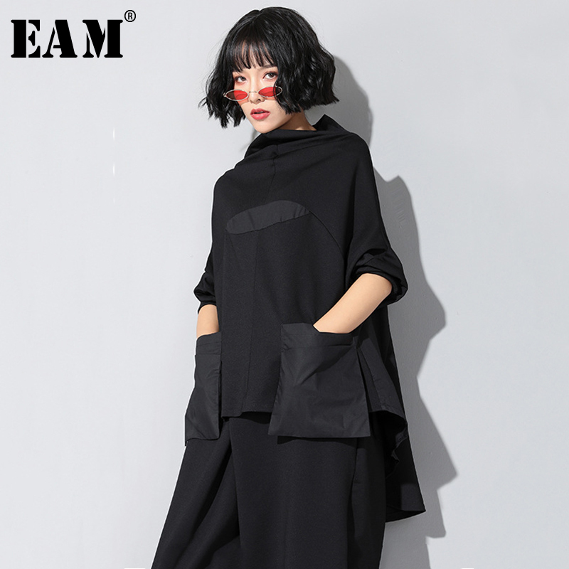 [EAM]2020 New Spring Autumn High Collar Long Sleeve Black Loose Pocket Stitch Irregular Hem Big Size T-shirt Women Fashion JQ018