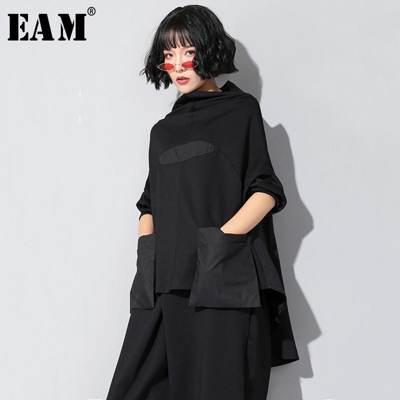 [EAM]2020 New Spring Autumn High Collar Long Sleeve Black Loose Pocket Stitch Irregular Hem Big Size T-shirt Women Fashion JQ018