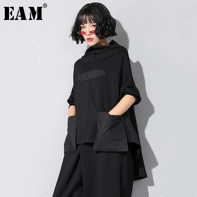 [EAM]2020 חדש אביב סתיו גבוהה צווארון ארוך שרוול שחור רופף כיס תפר סדיר Hem גדול גודל חולצה נשים אופנה JQ018
