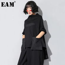 EAM T shirt manches longues col haut noir, ample avec couture avec poches, ourlet irrégulier, grande taille, à la mode femme, printemps automne 2020, JQ018