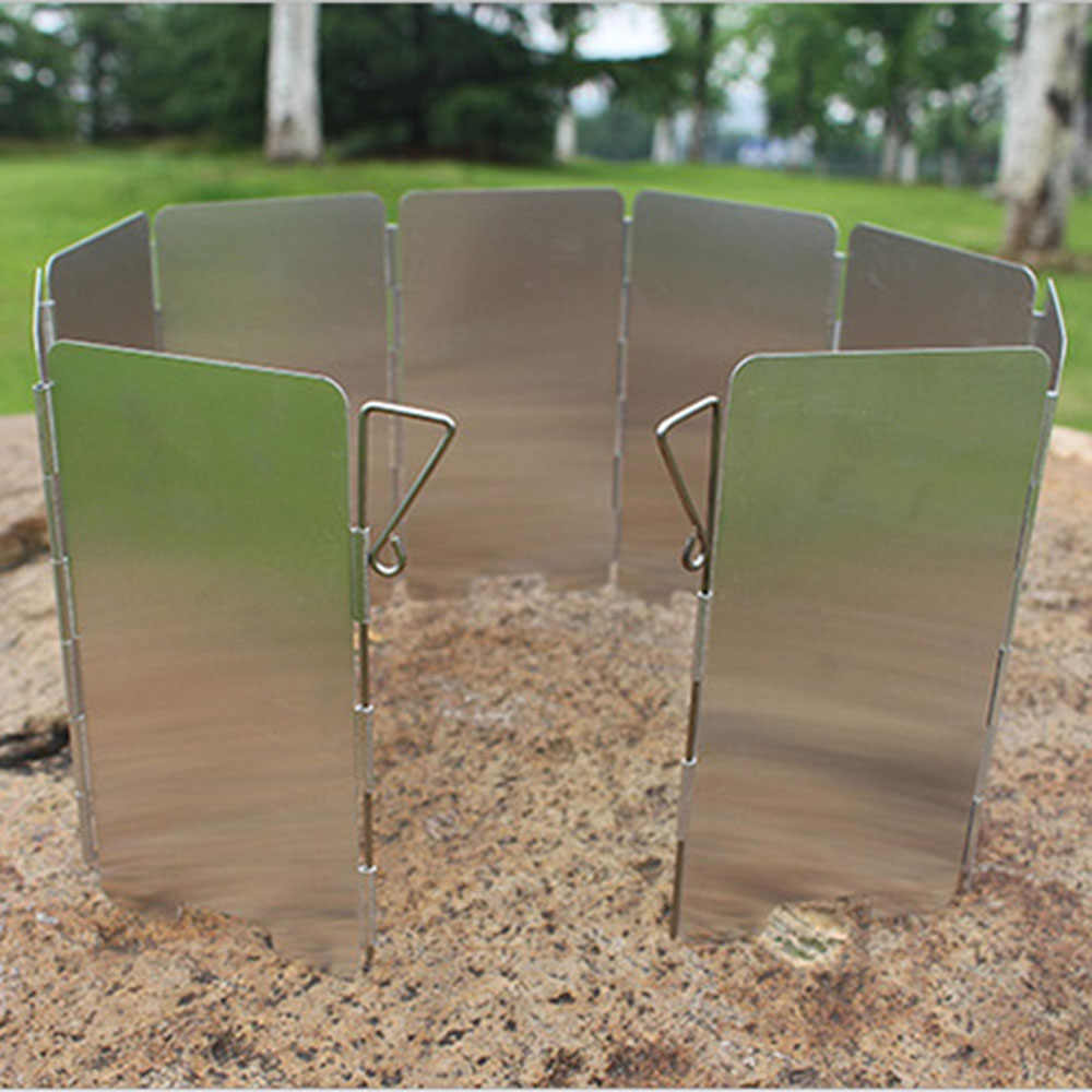9Plate Foldable Burner Windshield Outdoor Camping CookingGas StoveWind Shield PB