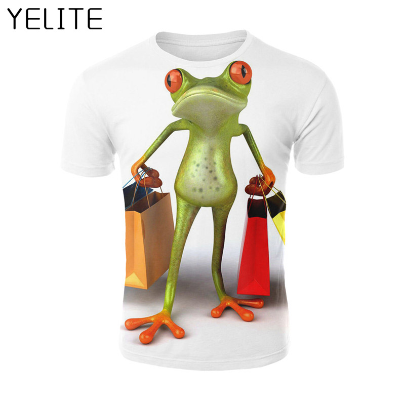YELITE 2019 Frog Carrying Two Bags Of Shopping 3D T Shirt T-shirt Cool Male Summer Print Short Sleeve Funny O-neck Tshirt Tops