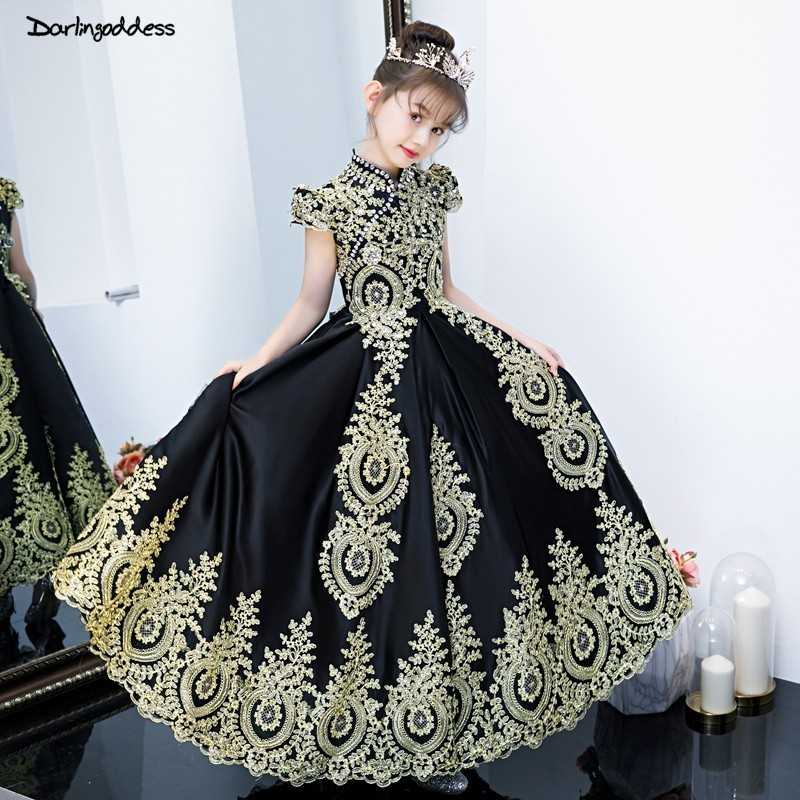 vestido daminha Luxury Black Tulle Gold Lace   Flower     Girl     Dresses   for Weddings 2019 Short Sleeve Ball Gowns for   Girls   Prom   Dress