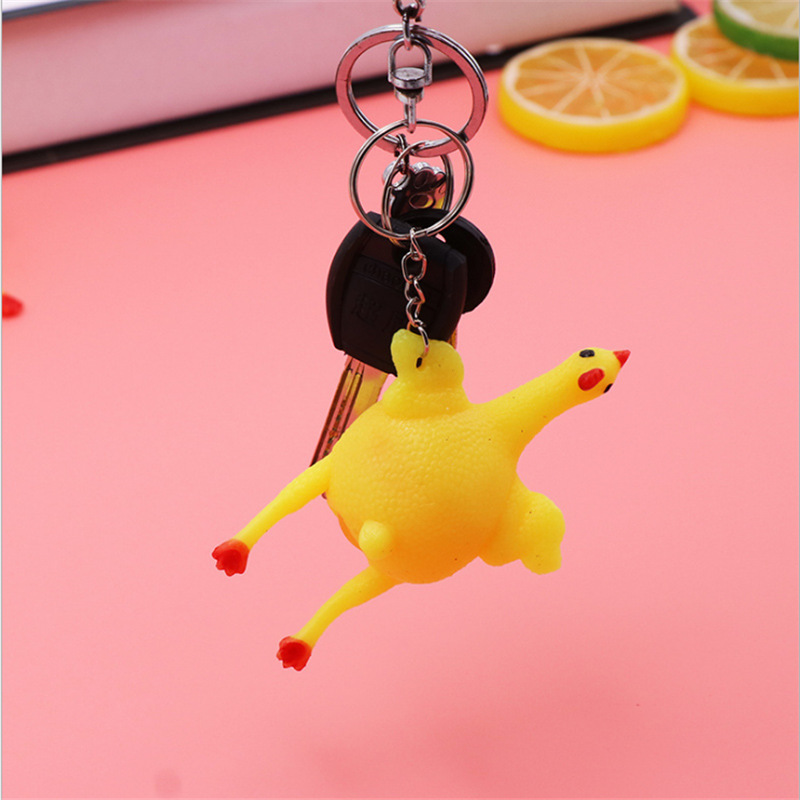 Key Ring Novelty Spoof Tricky Gadgets Toy Keychain For <font><b>Roadrage</b></font> Vent Chicken Whole Egg Laying Hens Crowded Stress Ball Keychain image