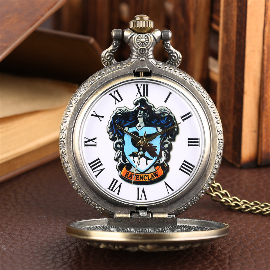 Exquisite Ravenclaw Design Quartz Pocket Watch Roman Numerals Display Pendant Watch Gifts For Men Women Kids With Necklace Chain