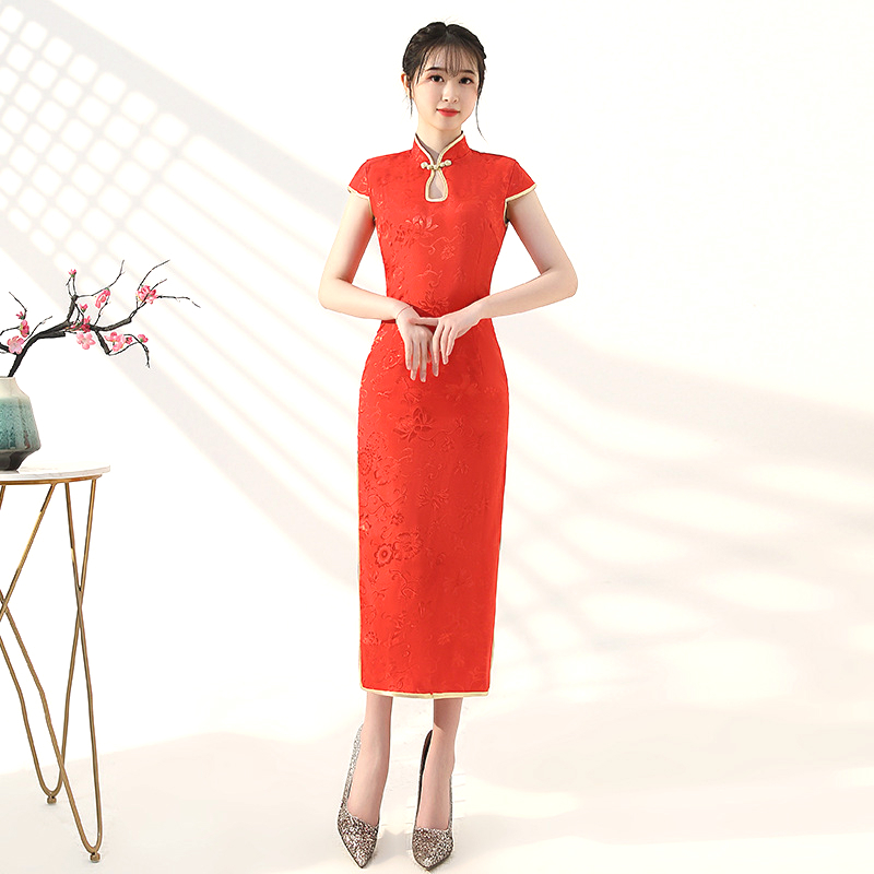 Sheng Coco Ladies Robe Orientale Cheongsam Red Long Short Sleeve Dignified Elegant Chinese Qipao High Quality Robe Orientale 3XL