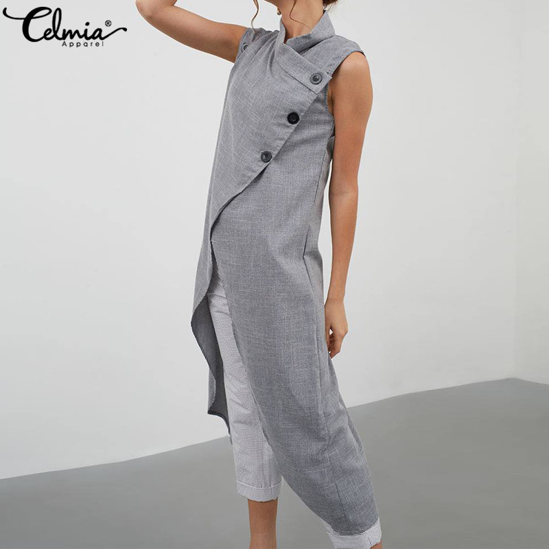 Celmia Women High Split Vintage Blouse Asymmetrical Tops 2019 Summer Sleeveless Buttons Casual Long Shirt Loose Blusas Plus Size