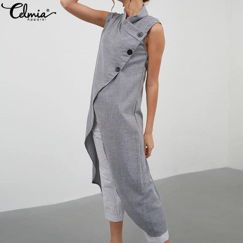 Celmia Women High Split Vintage Blouse Asymmetrical Tops 2020 Summer Sleeveless Buttons Casual Long Shirt Loose Blusas Plus Size