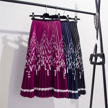цены на 2019 Women Bohemian Satin Letters Floral Print Skirts Elastic Waist Shinning Beach Holiday Pleated Midi Skirts  в интернет-магазинах