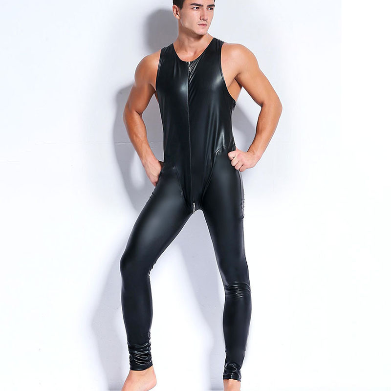 AIIOU Sexy Men Faux Latex Leather Bodysuits Fetish Gay Sissy Exotic Club Wear Sleeveless Costumes Game Apparel Teddies Jumpsuits camiseta para quemar grasa