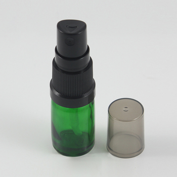 China factory 5ml Green pressed bottle empty small sample cosmetic cosmetic mist spray glass bottle with pump