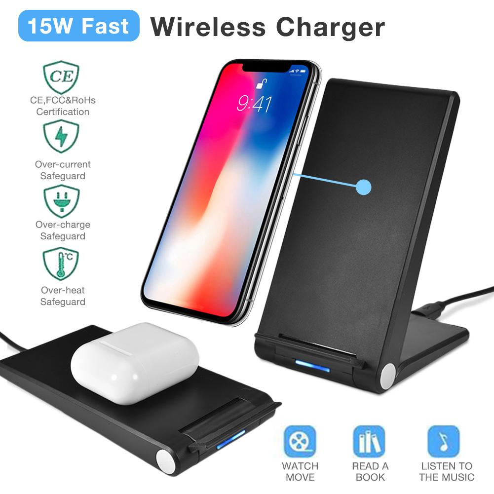 15W Fast Wireless Charger Foldable Qi Wireless Charging Stand For HUAWEI Mate 20 LG V30 V40 AirPods 2 Drop Shipping15W Fast Wireless Charger Foldable Qi Wireless Charging Stand For HUAWEI Mate 20 LG V30 V40 AirPods 2 Drop Shipping
