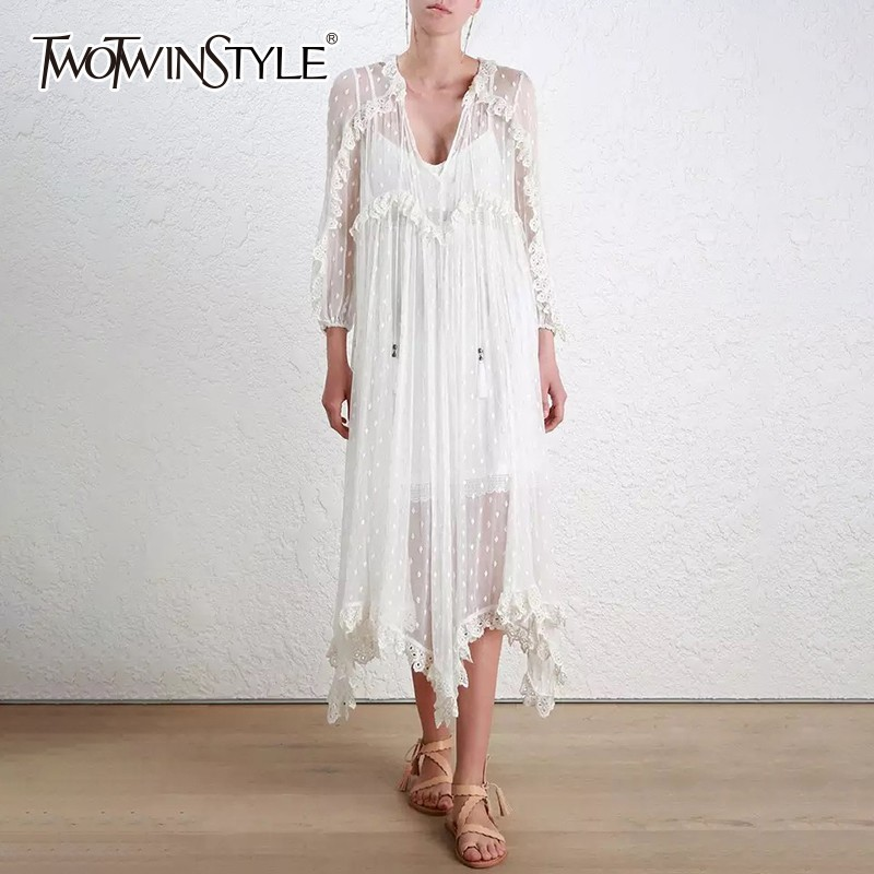 TWOTWINSTYLE Heavy Embroidery Lace Dress Female V Neck Wrist Sleeve Asymmetrical With Vest Women s Dresses