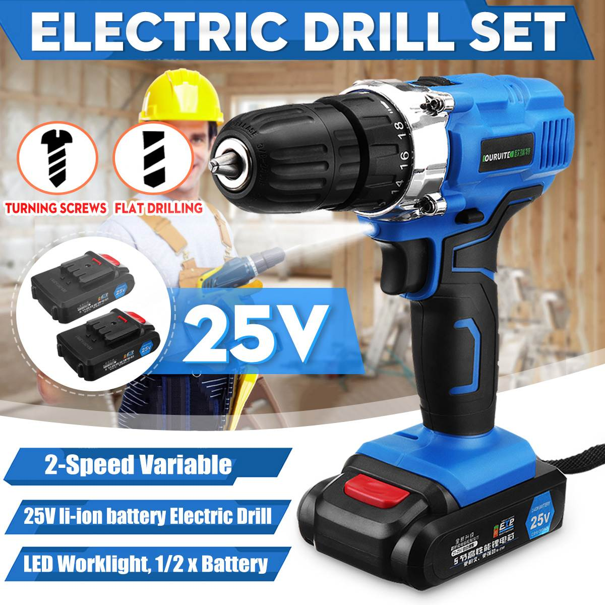 3/8 25V Max Electric Screwdriver Cordless Drill Mini Wireless Power Driver DC Lithium-Ion Battery3/8 25V Max Electric Screwdriver Cordless Drill Mini Wireless Power Driver DC Lithium-Ion Battery
