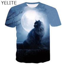 YELITE 3d Tshirt Fashion T-shirt Men Print Cute Cat Short Sleeve Summer Tops Tees T shirt Male 4XL Casual Shirt 2019 Newest