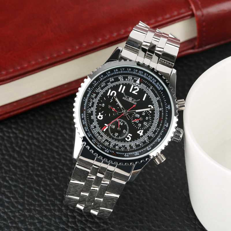 JARAGAR 自動メンズ腕時計メカニカル男性時計トップの高級ブランドフルステンレス鋼バンドユニークな腕時計 Horloges 万年