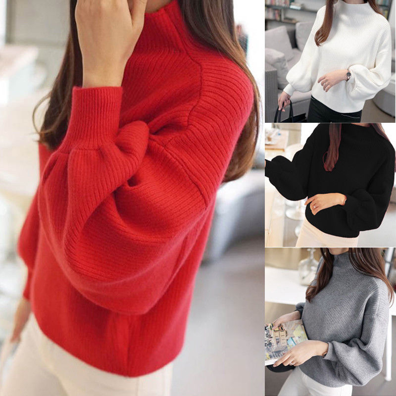 Hot Sale Women Winter Puff Sleeve Pullover High Neck Knitted Sweaters Tops Fashion Female Loose Outwear Jumper Top Sweater