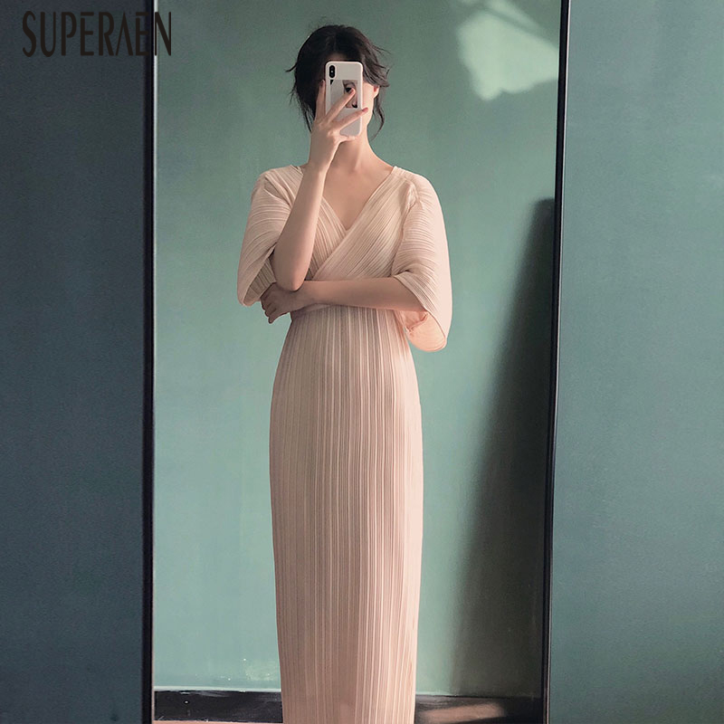 SuperAen Fashion Women Long Dress Half Sleeve Summer New 2019 Solid Color Ladies Dress Korean Style