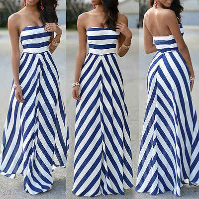 Women Summer Sexy Long Maxi Party Sleeveless Stomacher Dress Stripe Seaside Beach Dress Sundress Wholesale