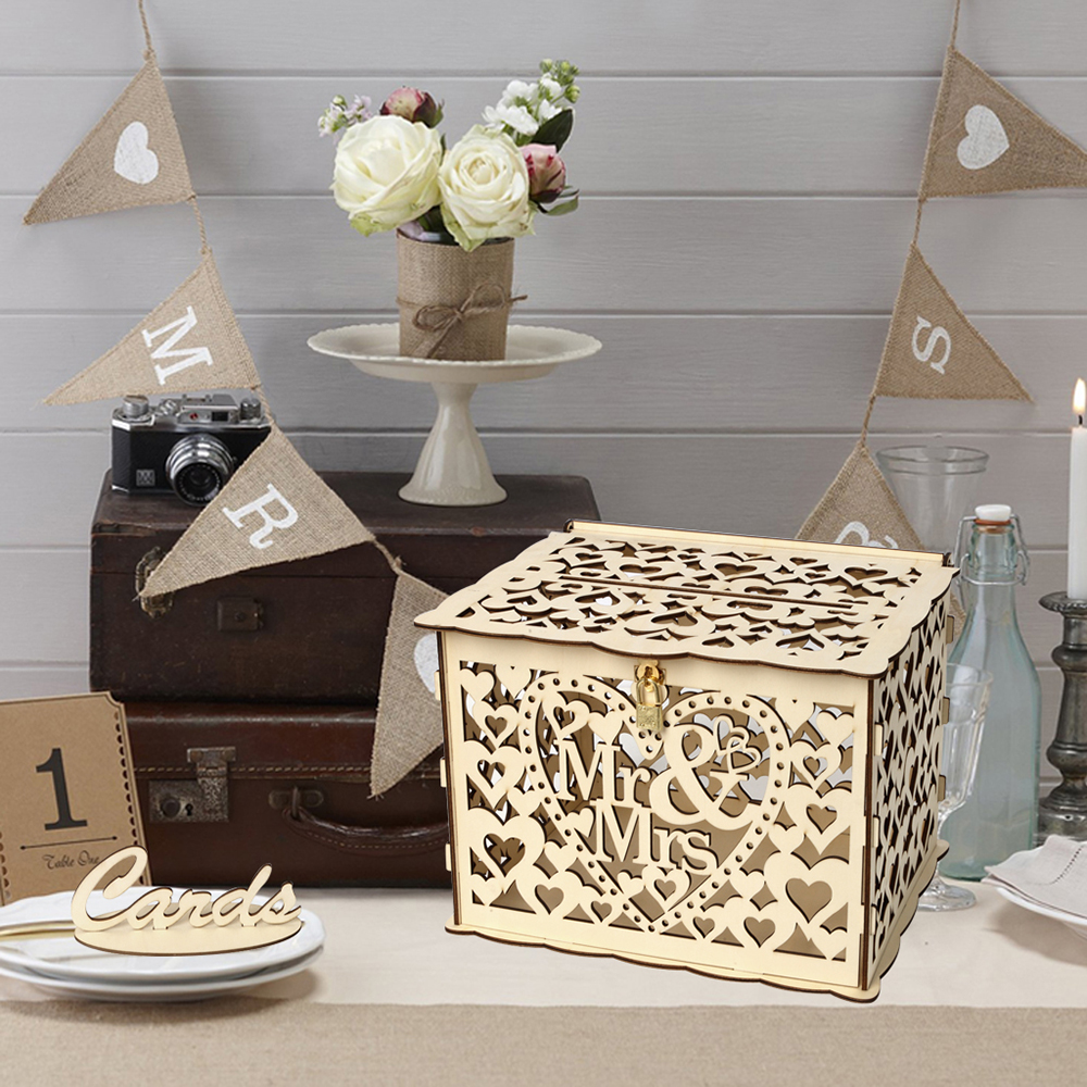 Us 15 89 34 Off Fashion Diy Wedding Card Boxes Hallow Wooden Hot Sale Wedding Gift Card Box Wooden Money Box With Lock Wedding Decororations In