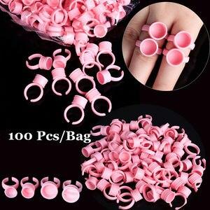 Image 1 - איפור קעקוע כלי 100Pcs חד פעמי כובעי Microblading ורוד טבעת קעקוע דיו גביע לנשים גברים קעקוע מחט אספקת Accessorie