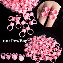 Makeup Tattoo Tool 100Pcs Disposable Caps Microblading Pink Ring Tattoo Ink Cup For Women Men Tattoo Needle Supplies Accessorie
