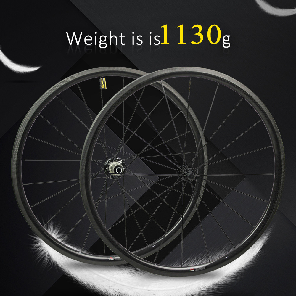 1130g Only 700C Road Bike Wheelset Carbon Fiber Bicycle Wheel Tubular Or Clincher Straight Pull Hub And 4.3g Spoke For Clmbing