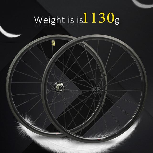 1130g seulement 700C roues de vélo de route en Fiber de carbone roue de vélo tubulaire ou pneu moyeu de traction droite et 4.3g a parlé pour Clmbing