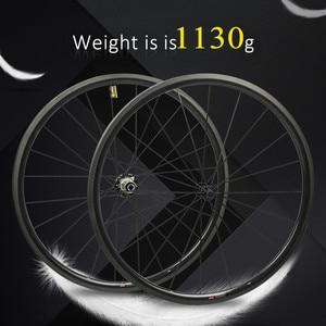 Image 1 - 1130g tylko zestaw kół rowerowych 700C z włókna węglowego koło rowerowe rurowe lub Clincher prosto Pull Hub i 4.3g mówił do Clmbing