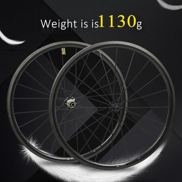 1130g tylko zestaw kół rowerowych 700C z włókna węglowego koło rowerowe rurowe lub Clincher prosto Pull Hub i 4.3g mówił do Clmbing
