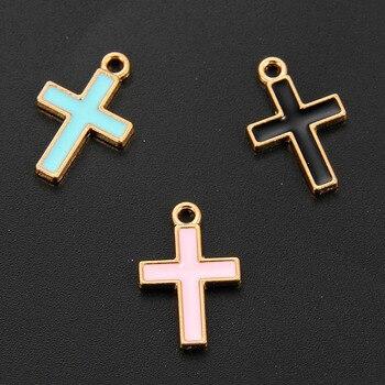 Nuevo mayorista Arriveal 10 unids/pack de aleación de esmalte de Metal cruz de Jesús colgante encantos para la fabricación de la joyería DIY hecho a mano pendiente collar pulsera