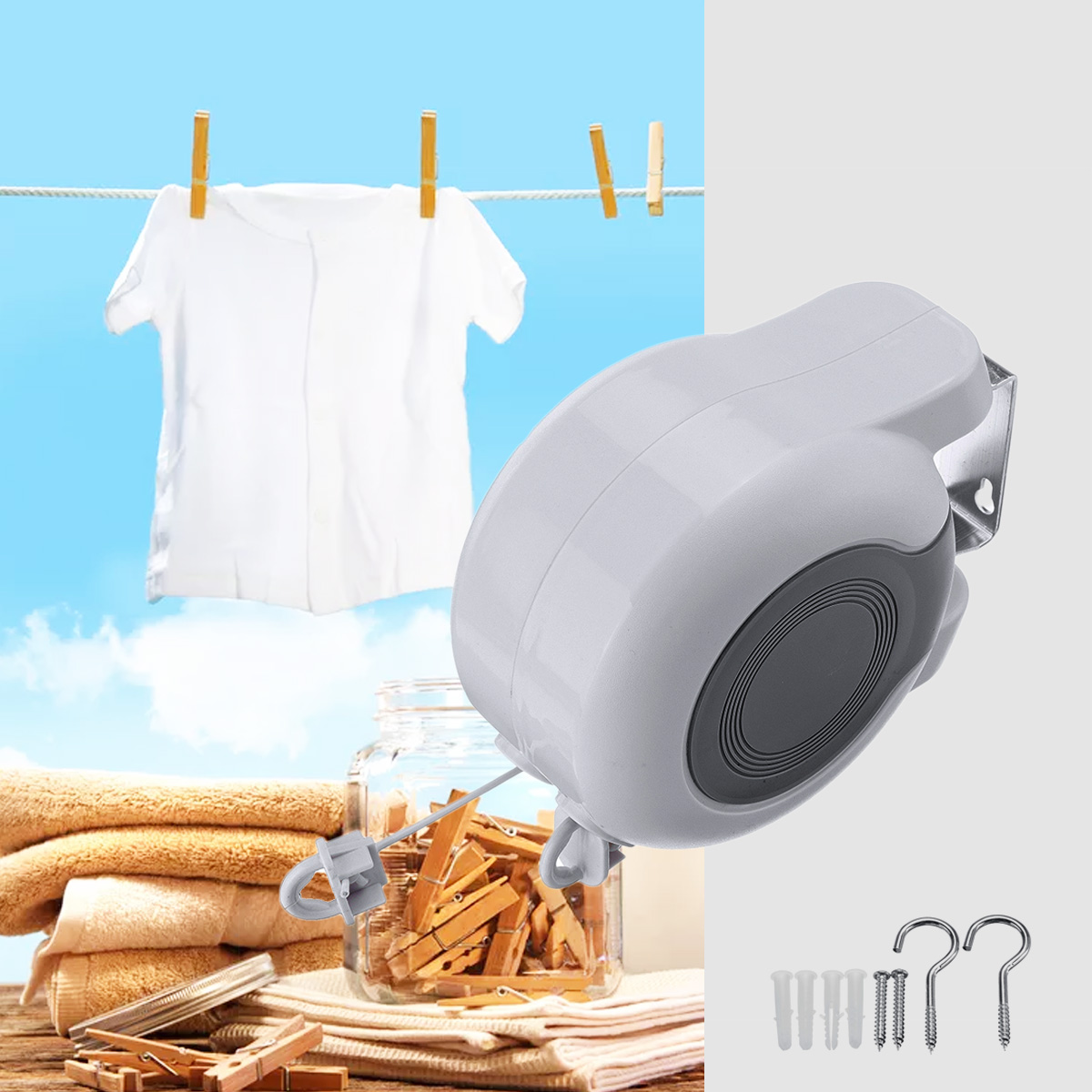 13M Retractable Clothesline Indoor Outdoor Laundry Hanger Clothes Dryer Organiser Clothes Drying Rack Rope Wire13M Retractable Clothesline Indoor Outdoor Laundry Hanger Clothes Dryer Organiser Clothes Drying Rack Rope Wire