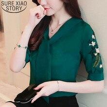 2019 chiffon office lady shirt women blouse short sleeve sum