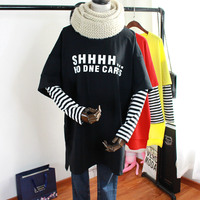 Stripe Sleeve Spring Loose Korean Letter Bf Long Sleeves T shirts Faux Two Pieces Aesthetic Streetwear Letter SHHH O Neck