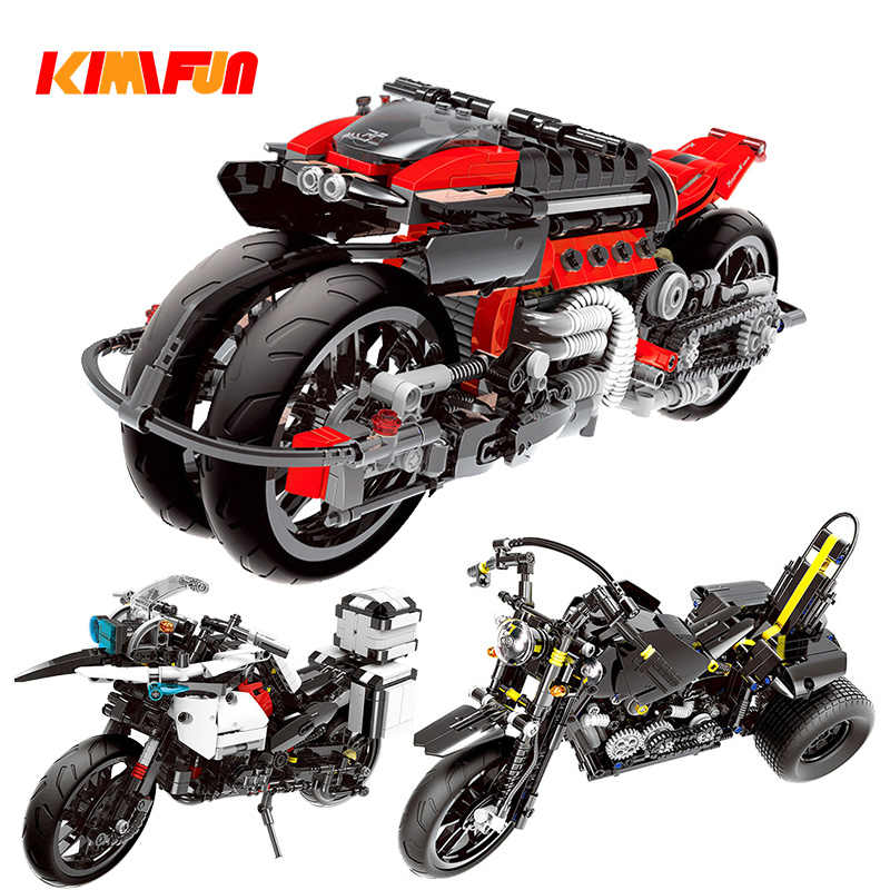 680+ City technic Motorcycle Building Blocks Machinery toys racing Motorbike sets models kits brick Gift Compatible