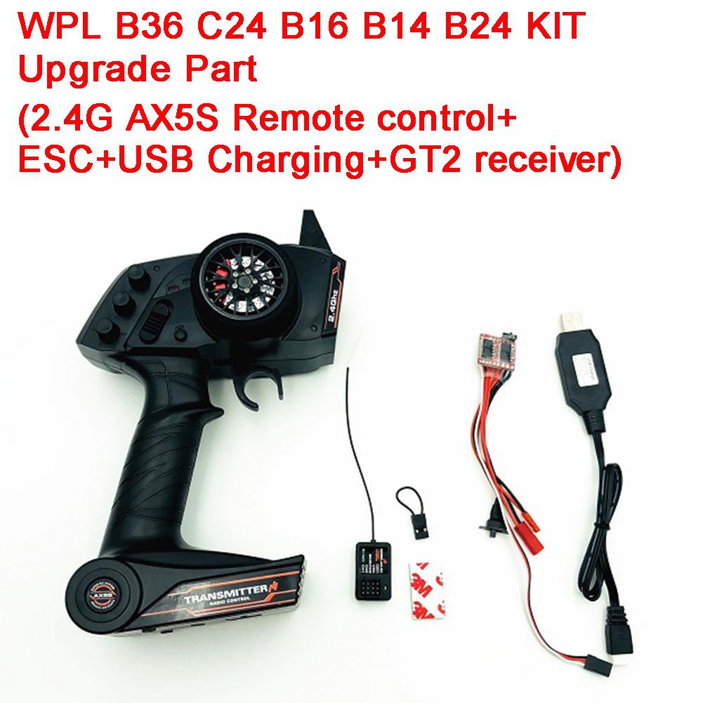 2.4G AX5S Remote Control+ESC+USB Charging+GT2 Receiver Electronic Equipment Upgrade Part Set for WPL KIT B36 C24 B16 B14 B242.4G AX5S Remote Control+ESC+USB Charging+GT2 Receiver Electronic Equipment Upgrade Part Set for WPL KIT B36 C24 B16 B14 B24