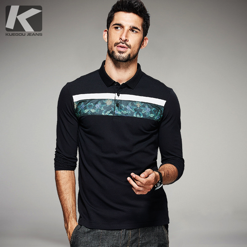 KUEGOU Spring Mens Fashion Polo Shirts Flower Patchwork Black Brands Clothing Long Sleeve Clothes For Man's Slim Fit Tops 1637