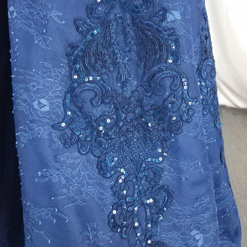 Donne Formale Collo Alto Lace Up Maniche Lunghe Navy Blu Abiti Da Sera - 5