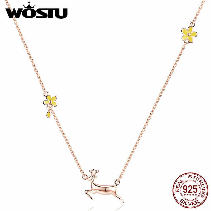 WOSTU женское ожерелье с подвеской в форме оленя 100% стерлингового серебра 925 пробы