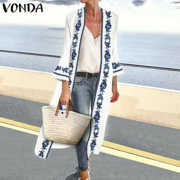 VONDA S-5XL Blouse Women Cardigan 2019 Spring Summer Vintage Floral Print Blouse Beach Long Tops Casual Office Shirt Oversized outfits para playa mujer 2019